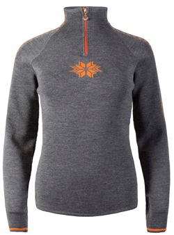 Dale of Norway Geilo Feminine Sweater - Smoke/Orange Peel