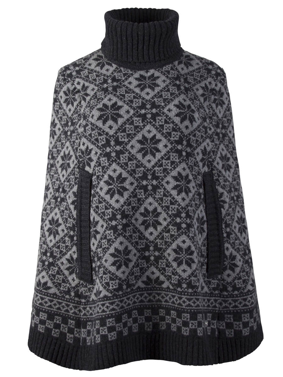 Dale of Norway Rose Poncho - Dark Charcoal/Smoke