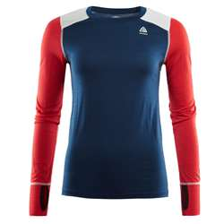 Aclima LightWool Reinforced Crew Neck Woman - Insignia Blue/High Risk Red
