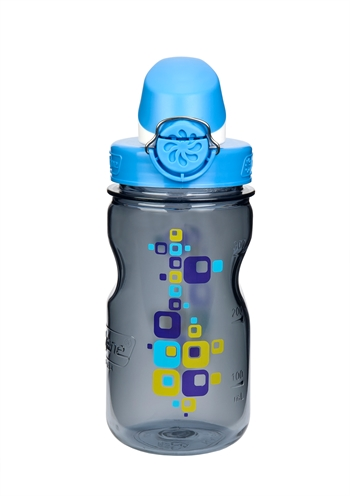 Nalgene: Kids On The Fly - Gray Bottle With Square Graphic And Blue Cap