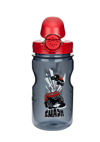 Nalgene: Kids On The Fly - Gray Bottle With Smash Graphic And Red Cap