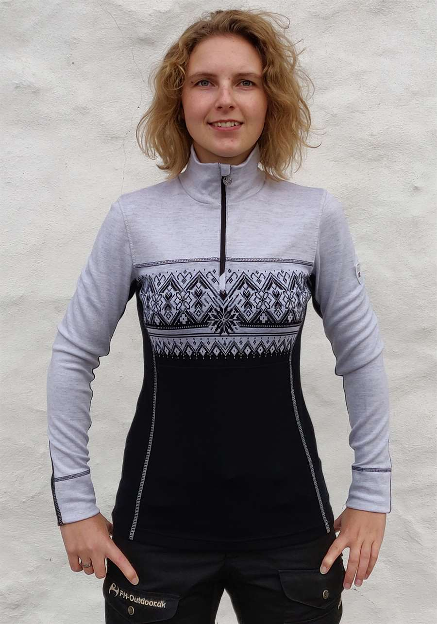 Dale of Norway Rondane Feminine Sweater - Black/Grey-Grey-Collar