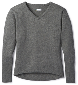 Smartwool: Women's Shadow Pine V-Neck Sweater [Medium Gray Donegal]