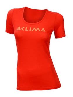 Aclima LightWool T-shirt Logo Woman [High Risk Red]