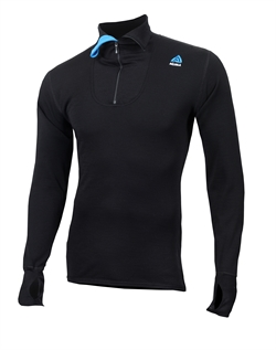 Aclima DoubleWool Polo w/Zip Man [Jet Black/Tornado/Brilliant Blue]