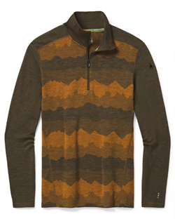 Smartwool Men's Merino 250 Baselayer Pattern 1/4 Zip [Military Olive Mountain Scape]